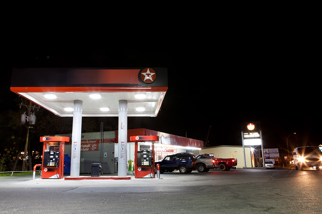 Pharmacy Dispenser Canopy Lighting On Drive Through Texaco Gas Station Marble Falls